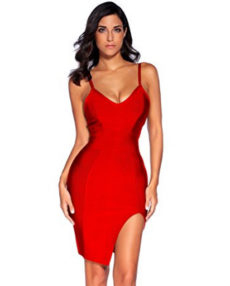 Red High Slit Strappy Celeb Inspired Bandage Dress