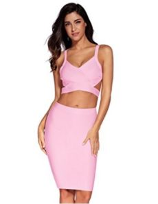 Pink Two Piece Cut Out V-Neck Crop Top and Pencil Skirt Bandage Set