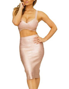Rose Gold Foil Two Piece Cut Out V-Neck Crop Top and Pencil Skirt Bandage Set