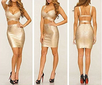 Gold Foil Two Piece Cut Out V-Neck Crop Top and Pencil Skirt Bandage Set