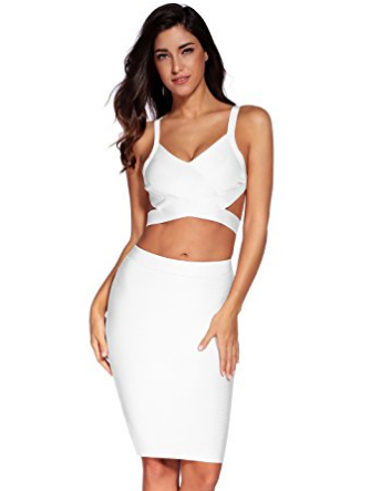 28b6b31e00283 White Two Piece Cut Out V-Neck Crop Top and Pencil Skirt Bandage Set