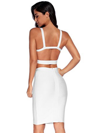 White Two Piece Cut Out V-Neck Crop Top and Pencil Skirt Bandage Set