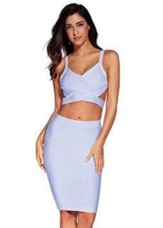 Light Blue Two Piece Cut Out V-Neck Crop Top and Pencil Skirt Bandage Set