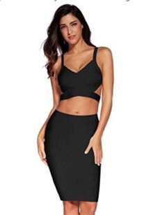 Black Two Piece Cut Out V-Neck Crop Top and Pencil Skirt Bandage Set