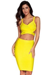 Yellow Two Piece Cut Out V-Neck Crop Top and Pencil Skirt Bandage Set
