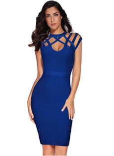 Blue Exquisite Cut Out Neck Detail Bandage Dress