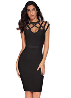 Black Exquisite Cut Out Neck Detail Bandage Dress