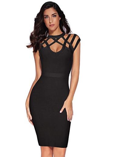 Black Exquisite Cut Out Neck Detail Bandage Dress