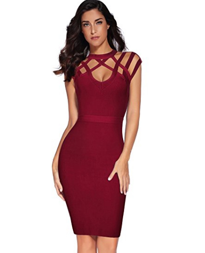 Wine Red Exquisite Cut Out Neck Detail Bandage Dress