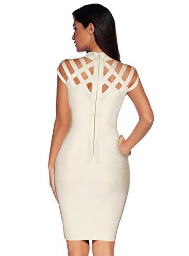 Beige Exquisite Cut Out Neck Detail Bandage Dress