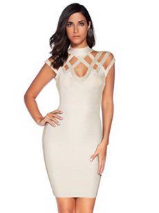 Beige Exquisite Cut Out Neck Detail Bandage Dress