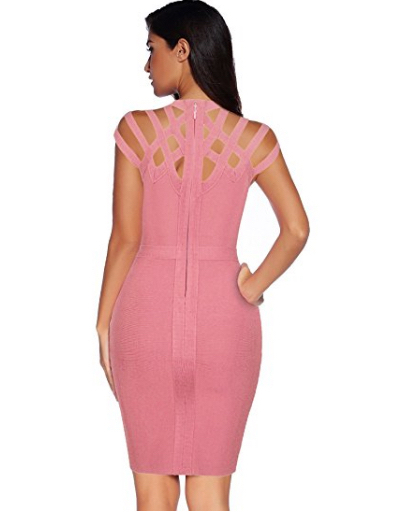 Mauve Pink Exquisite Cut Out Neck Detail Bandage Dress