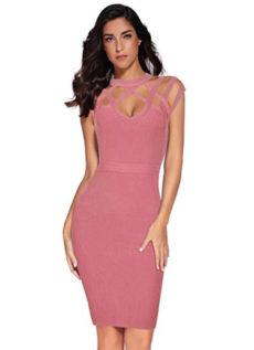 Mauve Pink Exquisite Cut Out Neck Detail Bandage Dress