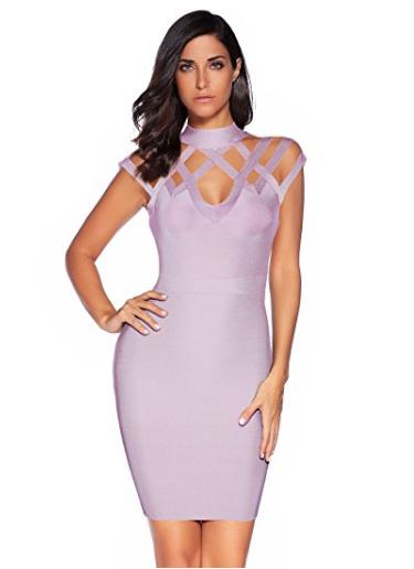 Purple Exquisite Cut Out Neck Detail Bandage Dress