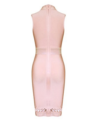 Pink Lace-up Cut-out Detail, Choker Neck Tank Midi Bandage Dress