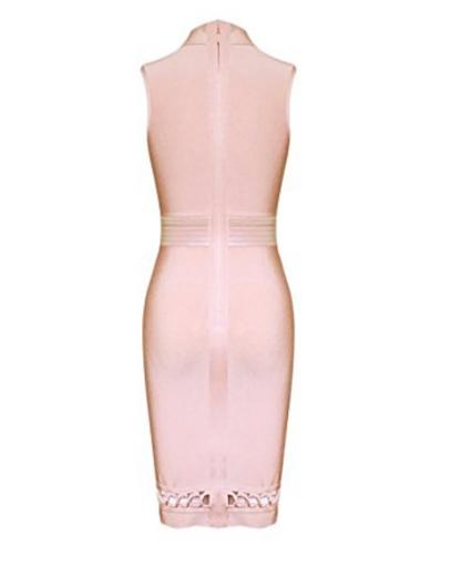 Pink Lace-up Cut-out Detail, Choker Neck Tank Midi Bandage Dress