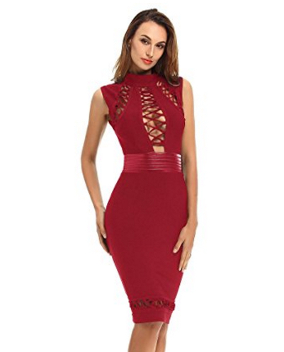 Wine Red Lace-up Cut-out Detail, Choker Neck Tank Midi Bandage Dress