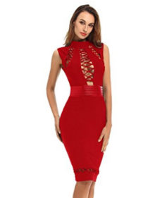 Red Lace-up Cut-out Detail, Choker Neck Tank Midi Bandage Dress