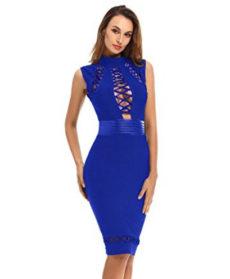Royal Blue Lace-up Cut-out Detail, Choker Neck Tank Midi Bandage Dress
