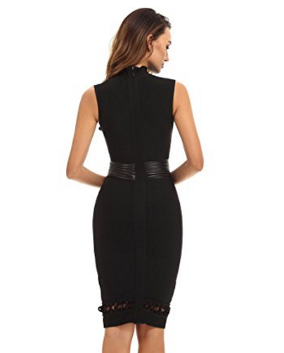 Black Lace-up Cut-out Detail, Choker Neck Tank Midi Bandage Dress