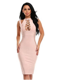 Pink Apricot Lace-up Bust Cut Out, Choker Neck Midi Bandage Dress