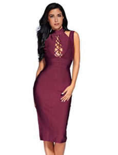 Wine Red Lace-up Bust Cut Out, Choker Neck Midi Bandage Dress