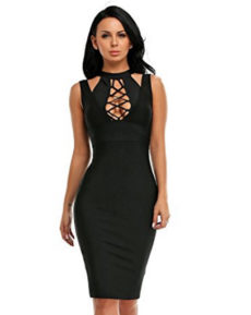 Black Lace-up Bust Cut Out, Choker Neck Midi Bandage Dress