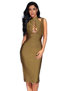 Olive Green Lace-up Bust Cut Out, Choker Neck Midi Bandage Dress