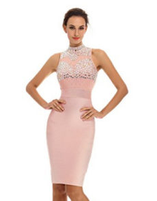 Pink Gem Encrusted Sheer Top Sleeveless Midi Bandage Dress