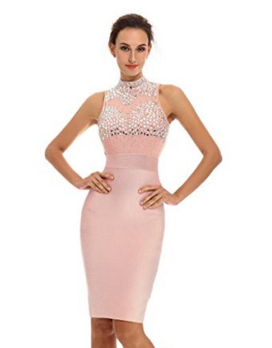 Pink Gem Encrusted Sheer Top Sleeveless Midi Bandage Dress