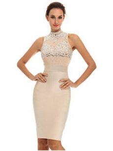 Beige Gem Encrusted Sheer Top Sleeveless Midi Bandage Dress