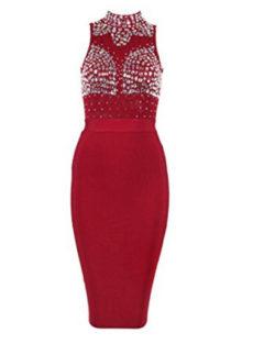 Wine Red Gem Encrusted Sheer Top Sleeveless Midi Bandage Dress