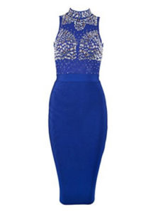 Royal Blue Gem Encrusted Sheer Top Sleeveless Midi Bandage Dress