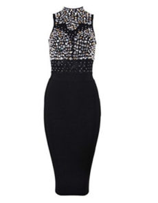 Black Gem Encrusted Sheer Top Sleeveless Midi Bandage Dress