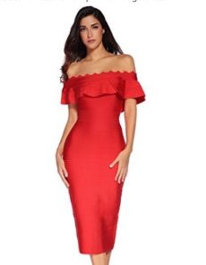 Red Off the Shoulder Ruffle Sleeve Midi Bandage Dress