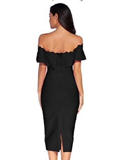 Black Off the Shoulder Ruffle Sleeve Midi Bandage Dress