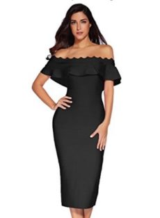 Black Off the Shoulder Ruffle Sleeve Midi Bandage Dress