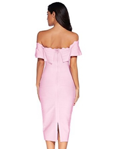 Pink Off the Shoulder Ruffle Sleeve Midi Bandage Dress