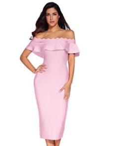 Pink Off the Shoulder Ruffle Sleeve Midi Bandage Dress