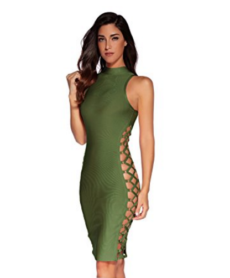 Olive Green Lace-Up Side Cut-out Sexy Mini Bandage Dress