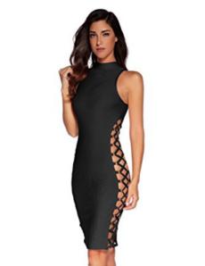 Black Lace-Up Side Cut-out Sexy Mini Bandage Dress