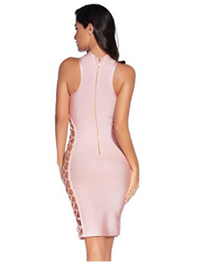 Beige Lace-Up Side Cut-out Sexy Mini Bandage Dress