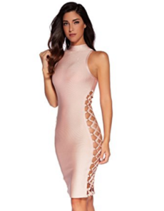 Beige Lace-Up Side Cut-out Sexy Mini Bandage Dress