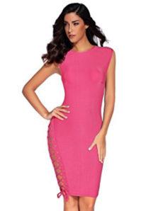 Pink Side Hip Lace-up, High Neck Bandage Dress