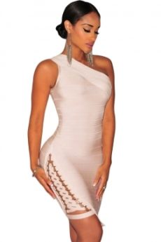 Beige Little One Shoulder Lace Up Celeb Inspired Bandage Dress