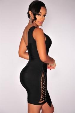 Black Little One Shoulder Lace Up Celeb Inspired Bandage Dress