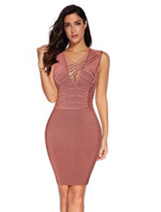 Mauve Berry Deep V-Neck Lace-up Corset Styled Mini Bandage Dress