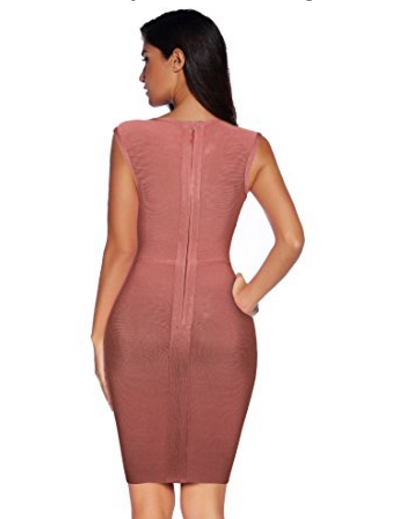 Mauve Berry Deep V-Neck Lace-up Corset Styled Mini Bandage Dress