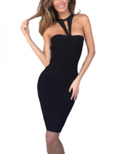Black Choker Front Halter Celeb Inspired Midi Bandage Dress