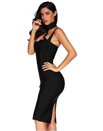 Black Choker Style Cross Front Halter Celeb Inspired Midi Bandage Dress